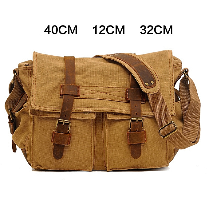 Other FUSHAN High Quality Men Canvas Bag Casual Travel Men's Crossbody Bag Luxury Men Messenger Bags Vintage shoulder bags(L  Deep jaune) à prix pas cher