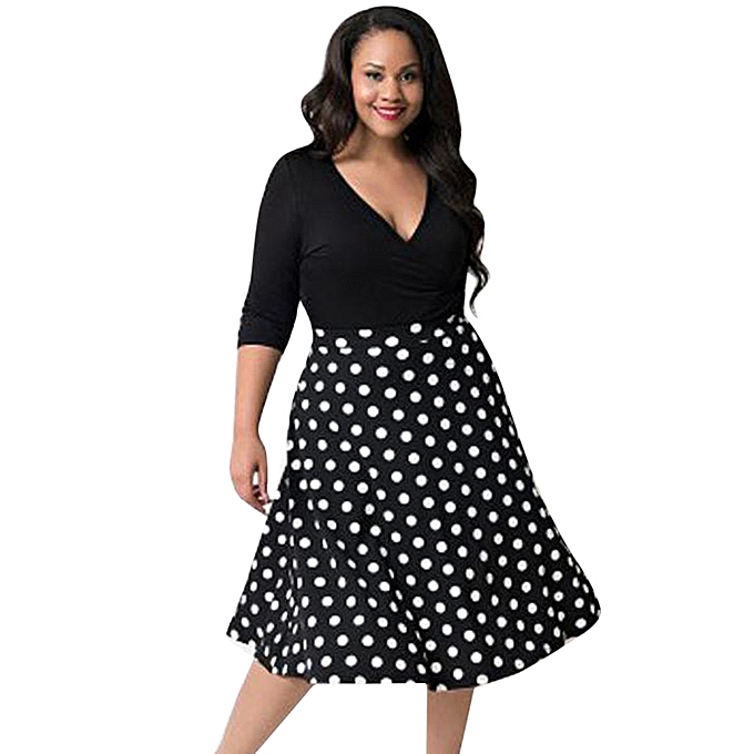 Fashion jiahsyc store femmes Plus Taille  V-Neck Dot Maxi Evening Party Boho Beach Dress-noir à prix pas cher