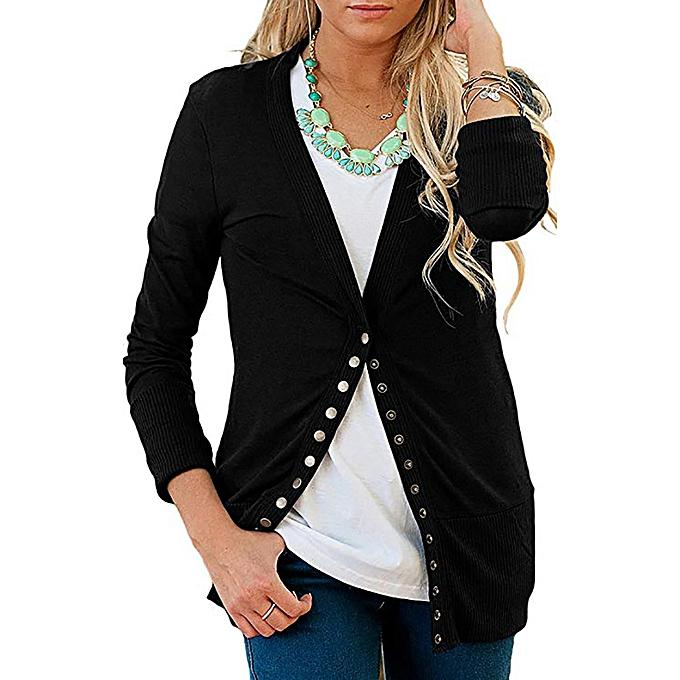 Fashion femmes V-Neck Button Down Knitwear Long Sleeve Knit Sweater Shirt Top Blouse à prix pas cher