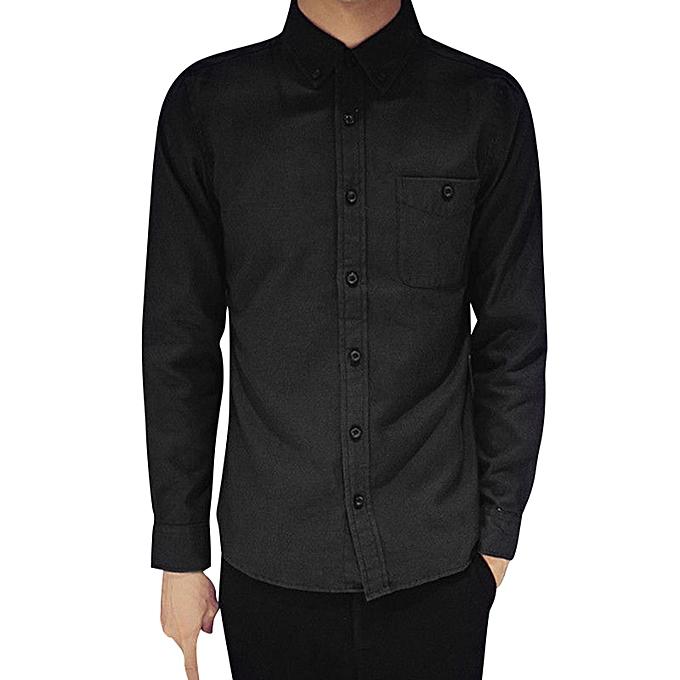 Fashion jiuhap store Mens Long Sleeve Oxford Formal Casual Suits Slim Fit Tee Shirts Blouse Top BK L à prix pas cher