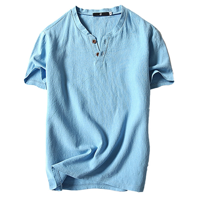 Fashion Men's Summer Casual Linen and Cotton Short Sleeve V-Neck T-shirt Top Blouse Tee à prix pas cher