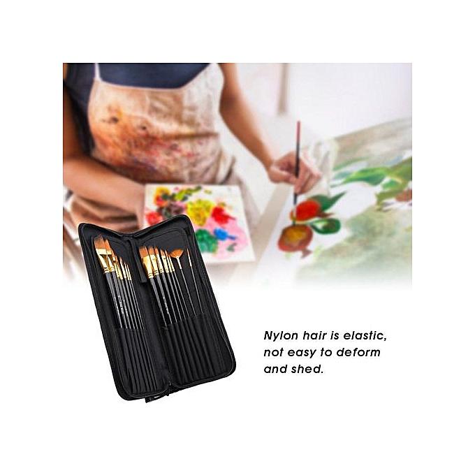 Other 15Pcs Gouache Brush Nylon Hair Wood Handle Brush WaterCouleur Painting Tool Set à prix pas cher