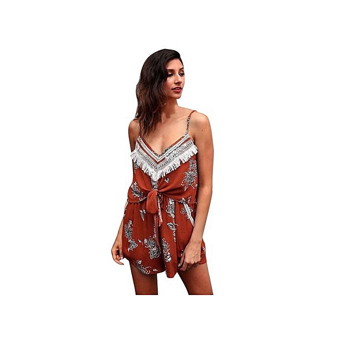 Eissely femmes Floral Print Sleeveless Jumpsuit Summer Playsuit-Orang à prix pas cher