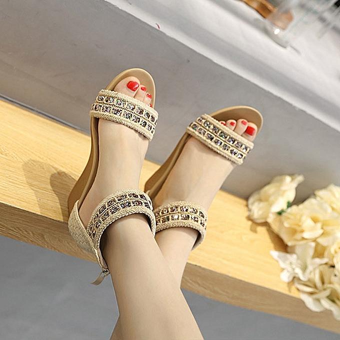 Fashion Fashion WoHommes  Sandals Sandals  Summer Bohemia Shoes Wedges Sequins Middle Heel Sandals -Khaki à prix pas cher    Jumia Maroc 84cbdf