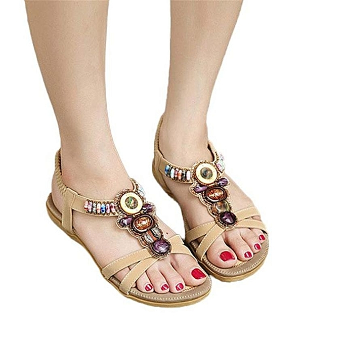 Neworldline Femmes's Fashion Sweet Beaded Clip Toe Flats Bohemian Herringbone Sandals-Khaki à prix pas cher