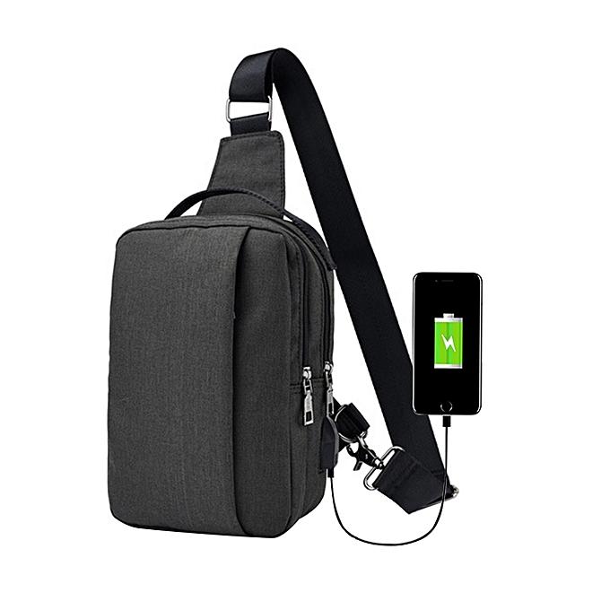 Fashion Men 's Corset Canvas Sports Leisure Waterproof Charging Outdoor Messenger Bag BK à prix pas cher