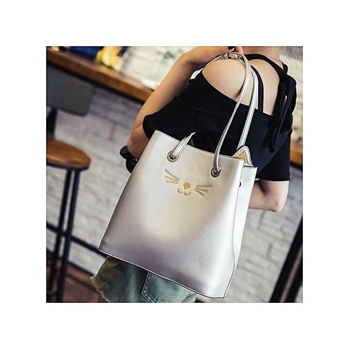 Siketu femmes Girls Cat Shoulder Bag Drawstring Travel Large Bag -argent à prix pas cher