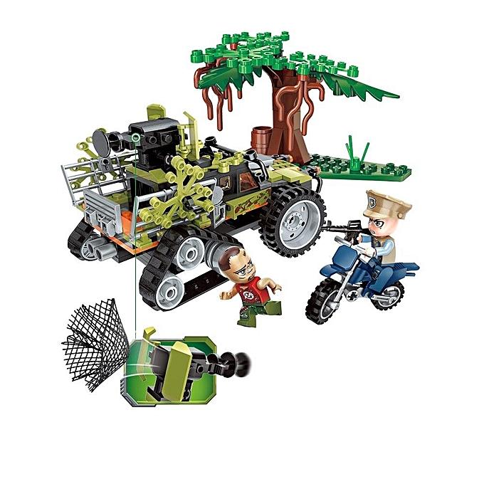 Autre 227PCS blocs de construction éducatifs capturant des jouets modèles de série de police de ville de voiture de singe de singe pour des enfants - vert à prix pas cher