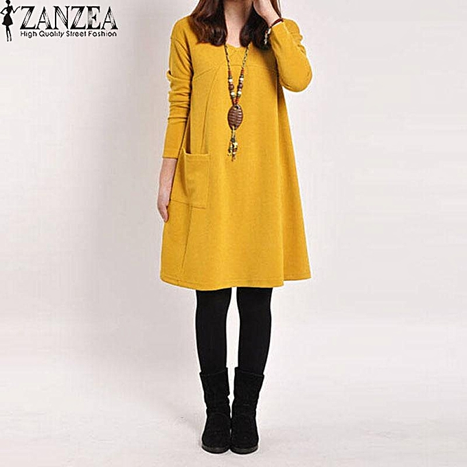 Fashion ZANZEA Autumn femmes Casual Cotton Loose Solid Pockets Dress Robe Female Long Sleeve V Neck Dresses Vestidos Femininas Plus Taille jaune à prix pas cher