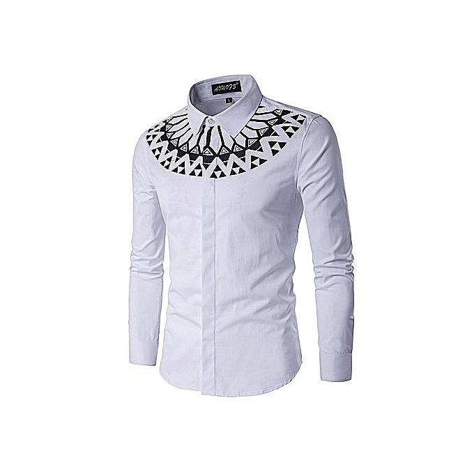 Generic Tailles Plus Hommes Taille Chemises À Manches Longues Style Décontracté Fermeture Marque VêteHommests-blanc à prix pas cher