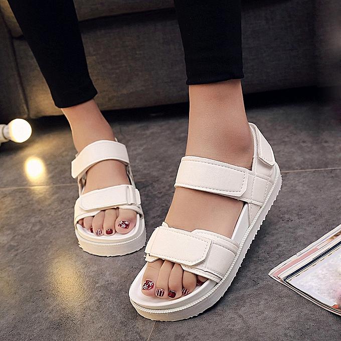 mode Blicool Shop femmes Sandals été Gladiator femmes Flat mode chaussures Décontracté Occasions Comfortable Sandals -blanc à prix pas cher