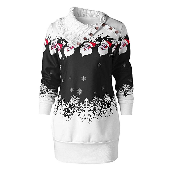 Generic Xiuxingzi femmes Christmas Santa Claus Snowflake Print Plus Taille Tunic Sweatshirt Dress à prix pas cher