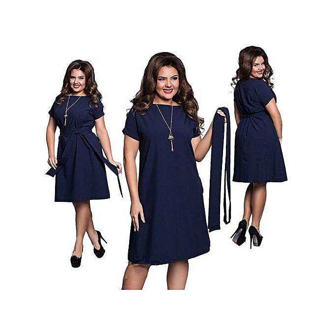 Generic femmes Casual O-neck Solid A-line Plus Taille Dress Slim Short Sleeve Vintage Belted Knee Length Summer Dress-noir à prix pas cher