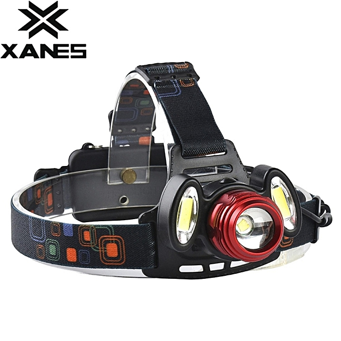 UNIVERSAL XANES 2305 800 Lumens T6+2xCOB LED Bicycle Headlight Mechanical Zoom Outdoor Sports HeadLamp 4 Modes Adjustable Head Light noir à prix pas cher
