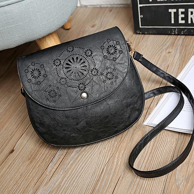 Siketu Fashion femmes Lady Leather Satchel Handbag Shoulder Tote Bag noir-noir à prix pas cher