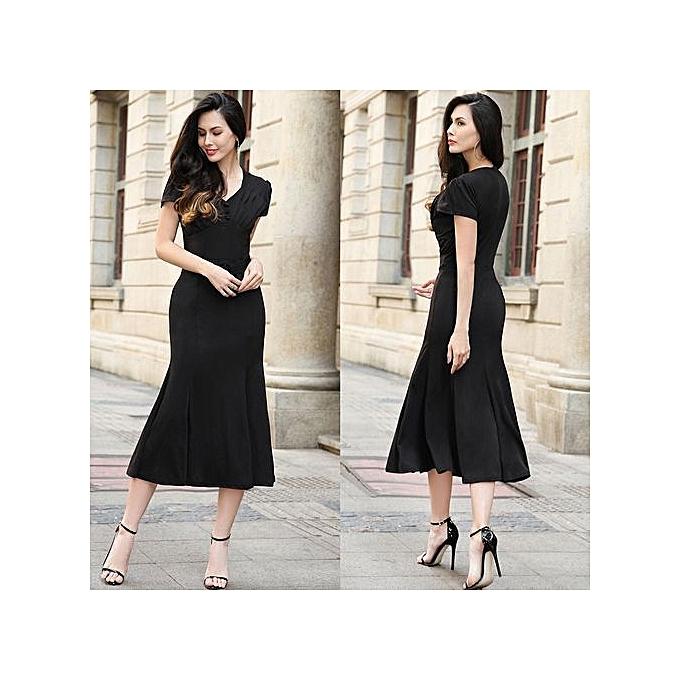 Fashion femmes Casual Long Dress Female Elegant  Short Sleeve Loose Party Dresses-bleu à prix pas cher