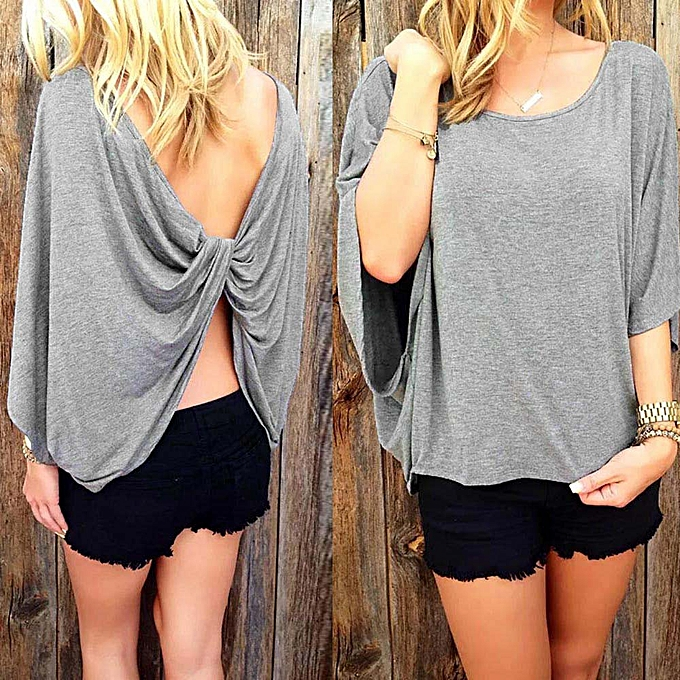 Fashion Hiamok femmes Summer Round Neck The Back Cross Shirt Casual Blouse Tops GY L à prix pas cher