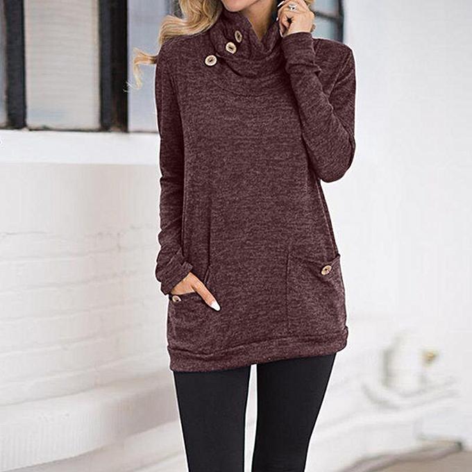 Fashion ZANZEA femmes Casual Basic Long Sleeve Blouse Shirt Tee Plus Taille Tunic Top Wine rouge à prix pas cher