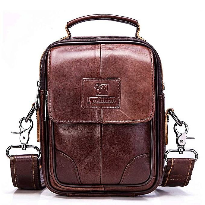 Other FUZHINIAO  Leather Mens Bags Male Crossbody Bags High Quality Brands Small Flap Casual Messenger Bag Men's Shoulder Bag(marron) à prix pas cher