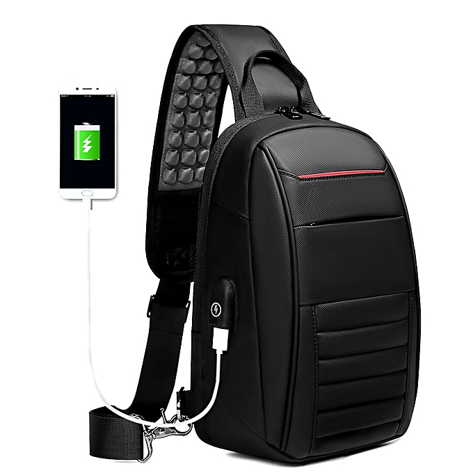 Other RCOOL Multifunction Shoulder Bag Men Business Crossbody Bags USB Charging Design Chest Bag Waterproof Messenger Bag Male n1908(noir) à prix pas cher