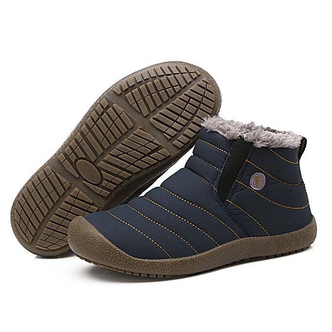 Generic TB Unisex Snow bottes Solid Couleur Warming chaussures Slip-on Ankle Couple-bleu à prix pas cher    Jumia Maroc
