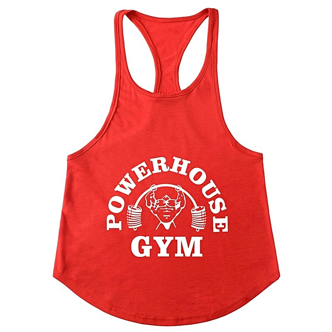 Other New Stylish GYM Men's Slim Shoulder Belt Running Sports Fitness Men's vest-rouge&blanc à prix pas cher