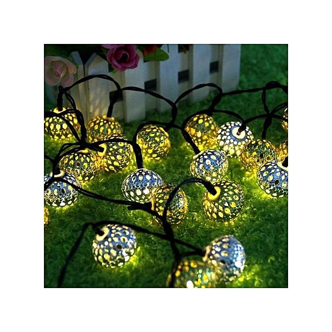 Generic Haojks-Solar Power 20LED Morcco Hollow String Light Outdoor Christmas Party Decor Lamp à prix pas cher