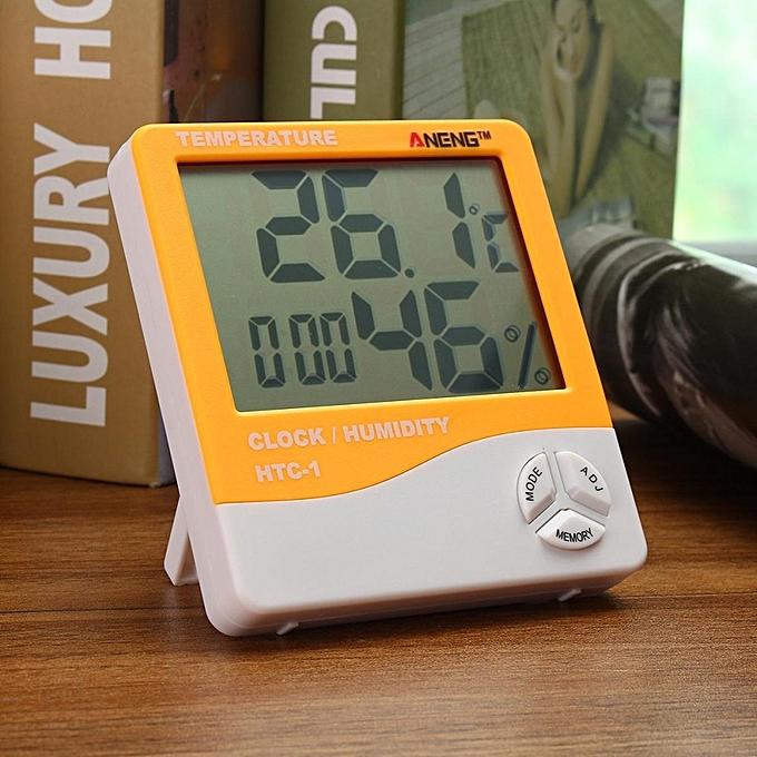 UNIVERSAL 2PCS LCD Digital Indoor Temperature Humidity Weather Meter Thermometer Hygrometer Orange à prix pas cher