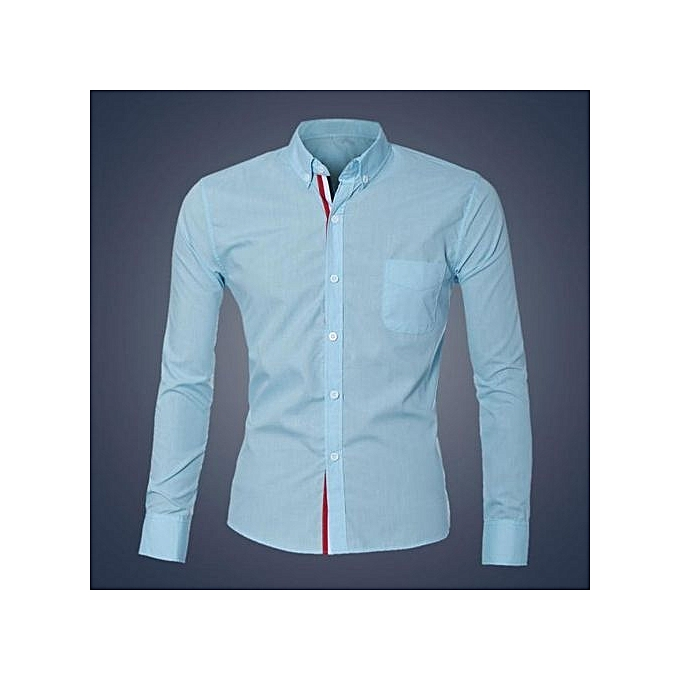 Neworldline Fashion Mens Luxury Long Sleeve Casual Slim Fit Stylish Dress Shirts LB M-Light bleu à prix pas cher