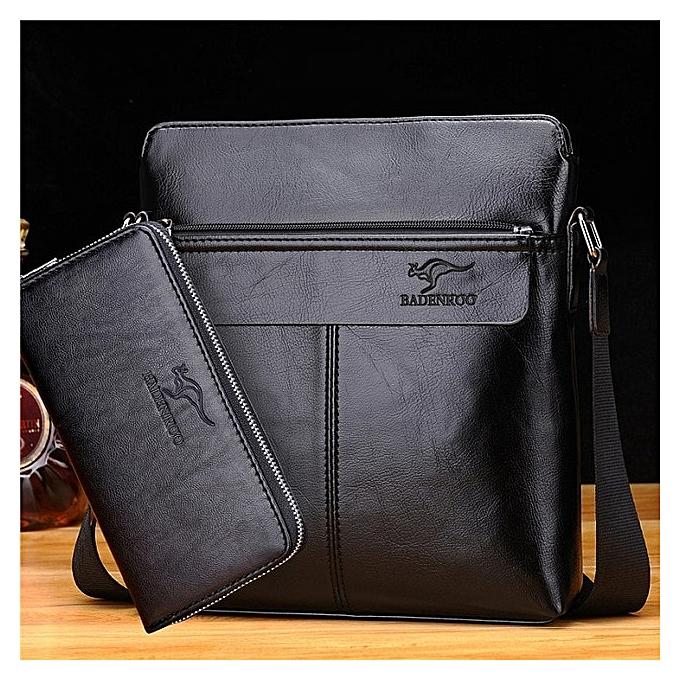 Other KANGAROO Luxury Brand Hommes sac cuir Hommes Shoulder Messenger sacs Designer noir Décontracté bandoulière sacs Affaires Briefcase Bolsa(noir set) à prix pas cher