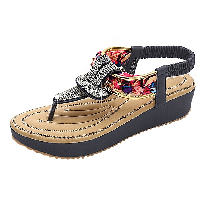 Fashion jiahsyc store Wohommes Ethnic Style Summer Sandals Rhinestone Leisure Beach Slippers chaussures à prix pas cher