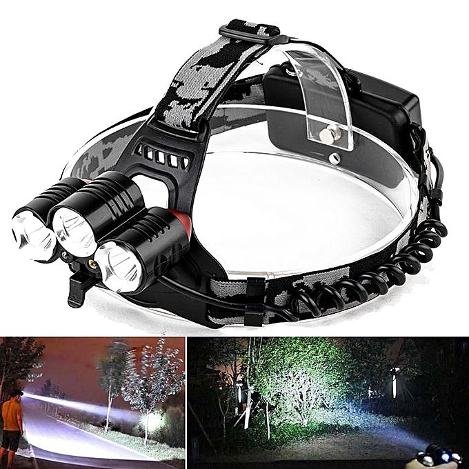 GENERAL quanxinhshang LED Headlight Flashlight Torch Cree 3x XM-L T6 Headlamp Head Light Lamp à prix pas cher