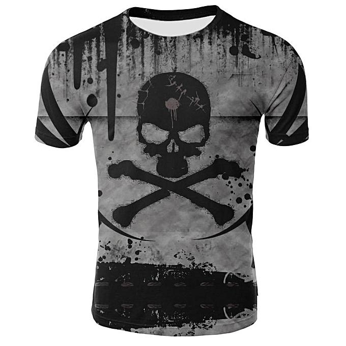 Other 2018 Mens Funny Shirt Pirate Skull 3D Printed T-Shirts Short Sleeve Tees à prix pas cher