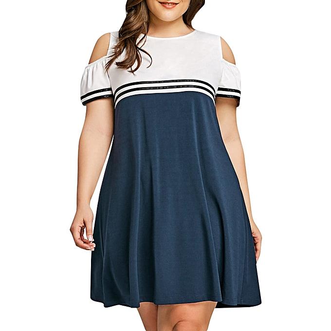 Generic Fovibery Large Taille femmes Off Shoulder Short Sleeve Mini Dress Evening Party Dress à prix pas cher