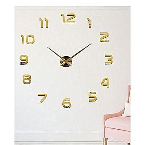 Commandez Générique Horloge Murale 3d Originale Design Doré 80cm à