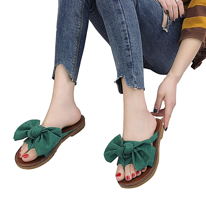 Fashion Jummoon Shop femmes Fashion Solid Couleur Bow tie Flat Heel Sandals Slipper Beach chaussures à prix pas cher