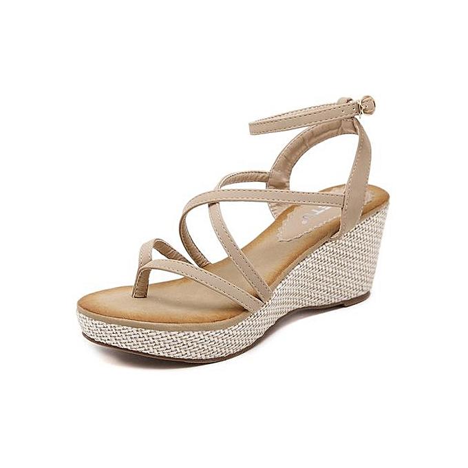 Generic Large Taille New femmes wedge sandals Rohomme ribbon sandals wohomme chaussures -apricot à prix pas cher    Jumia Maroc