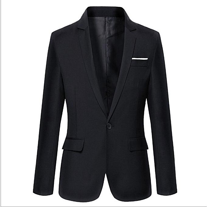 47ea01d81313c Men's Clothing Blazer Men One Button Men Blazer Slim Fit Costume Homme Suit  Jacket Masculine Blazer Black