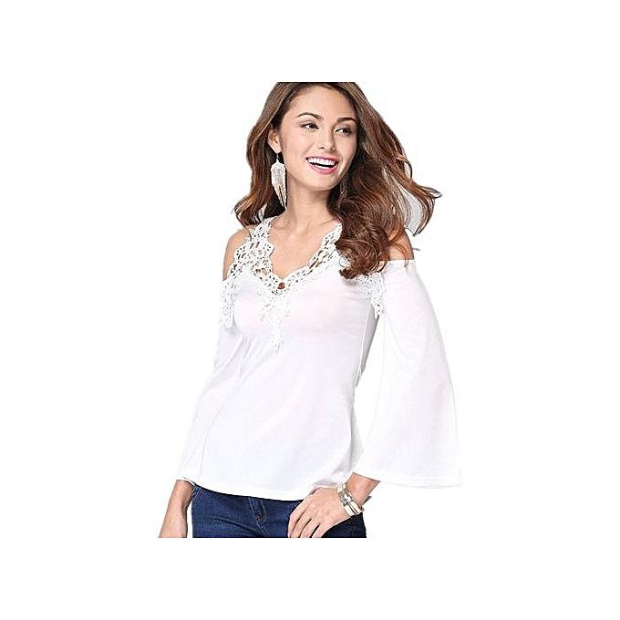 Generic Cut-out Shoulder Long Flablanc Sleeve Crochet Blouse (blanc) à prix pas cher