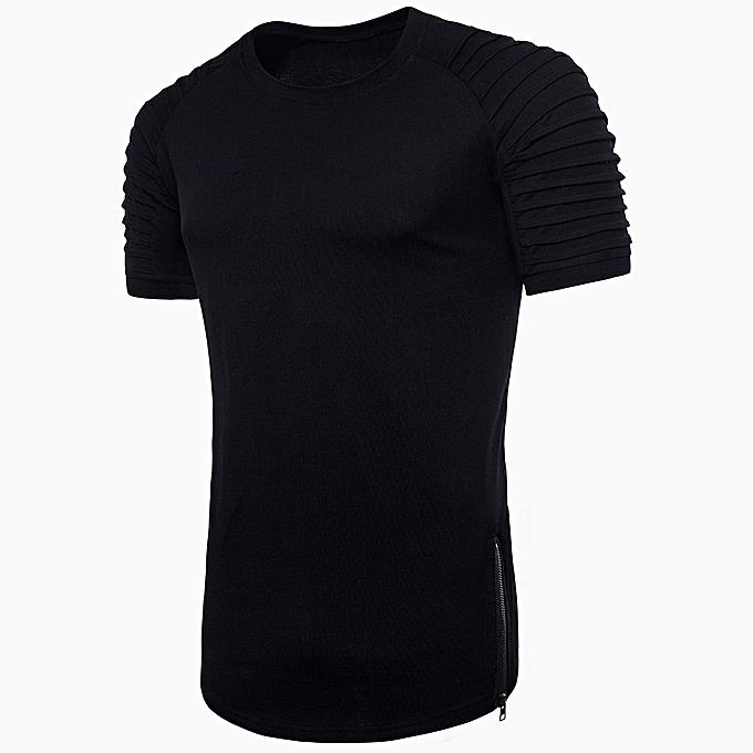 Generic Generic mode Personality Hommes& 039;s Décontracté Slim manche courte rayé T Shirt Top chemisier à prix pas cher