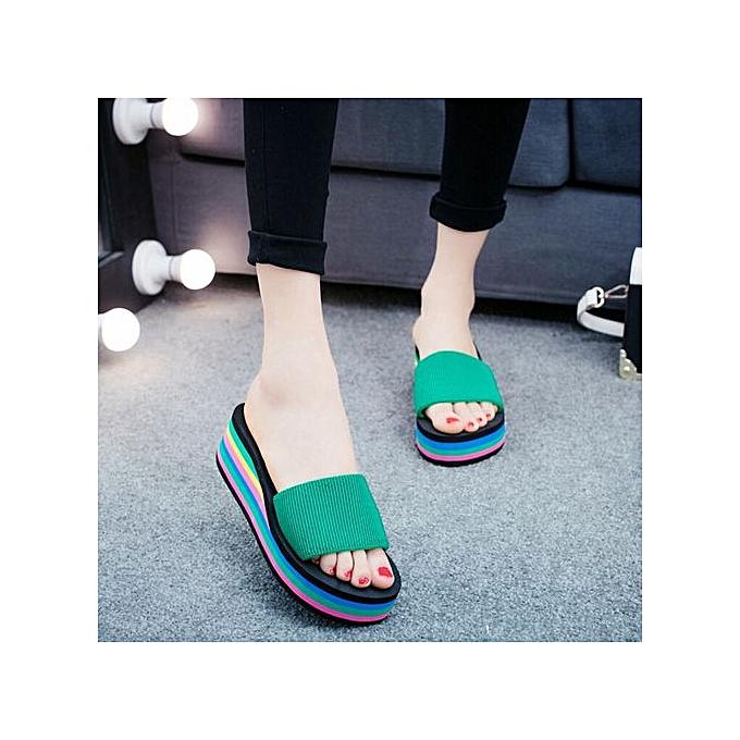 Generic Beach Summer Wohommes Home-Style Casual  Peep Toe Sponge Wedge Heels  Slippers-vert à prix pas cher    Jumia Maroc