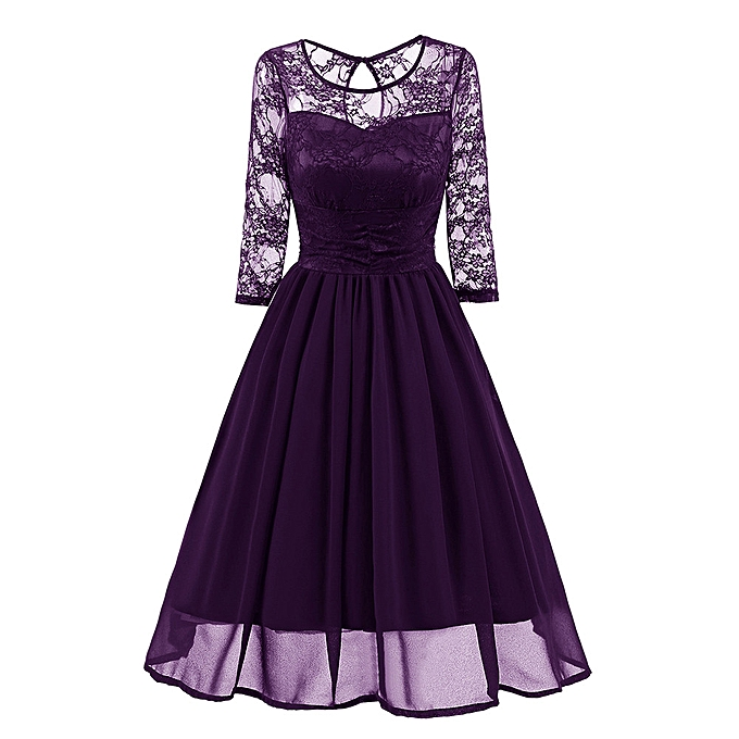 Fashion schoolcool femmes Vintage Lace Evening Party Wedding Work Casual Three Quarter Sleeve Dress à prix pas cher