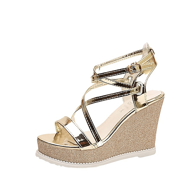 Generic Generic Fashionable Summer Rohomme High-heeled One-word Button Sloping Heel Wohommes chaussures A1 à prix pas cher
