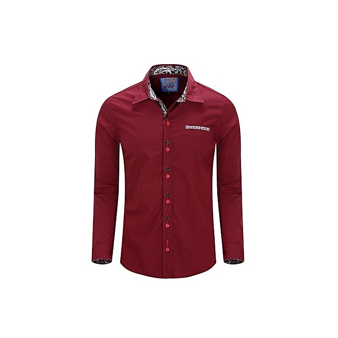 Generic Refined Hommes& 039;s Leisure Shirts manche longued Shirts Turn-down Collar Double Colour Button impression Slim grand Taille Personality Shirts à prix pas cher