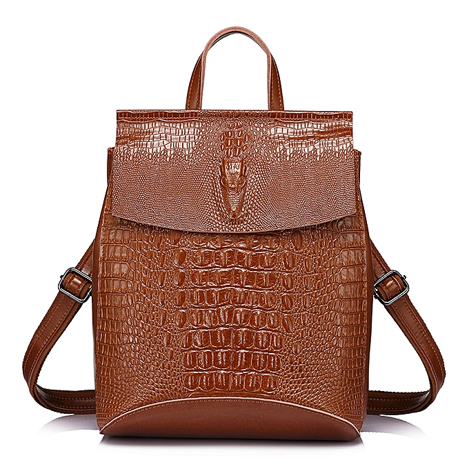 Fashion REALER fashion femmes backpack high quality split leather crossbody shoulder bag female crocodile print large multifunctional bag à prix pas cher