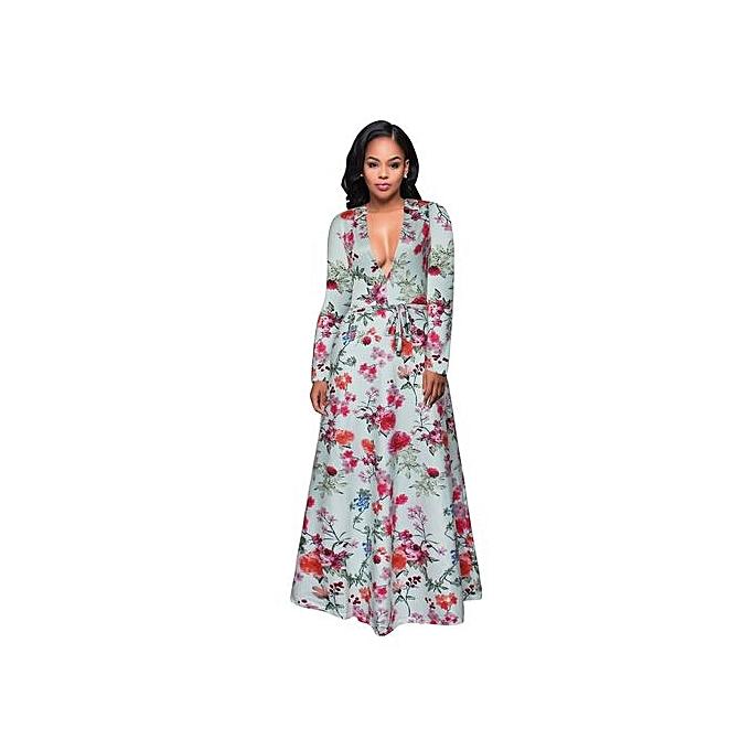 Fashion Large Taille L-5XL Deep V Long EveningBeach Floral Dress Sundress 2017 Vestidos Party Dresses-vert à prix pas cher