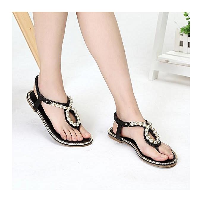 mode mode femmes Bohemia Beaded Flip Flops Elastic plage Flat Sandals-EU à prix pas cher