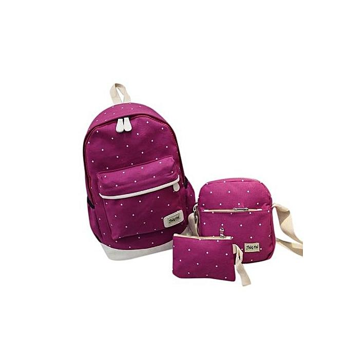 mode Singedanfemmes Girl toile Dot sac à dos+Shoulder sac+Wallet Set  Hot - Hot rose à prix pas cher