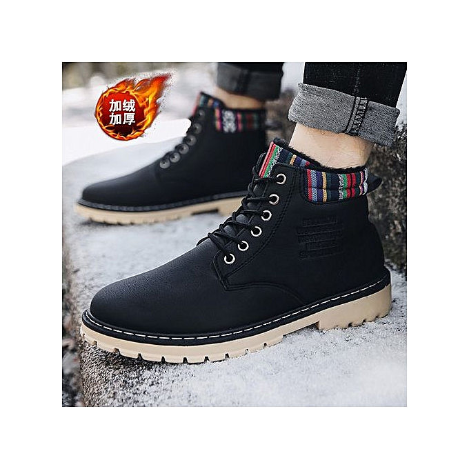OEM Men's plus velvet Martin chaussures casual hommes chaussures high to help waterproof high chaussures-noir à prix pas cher    Jumia Maroc
