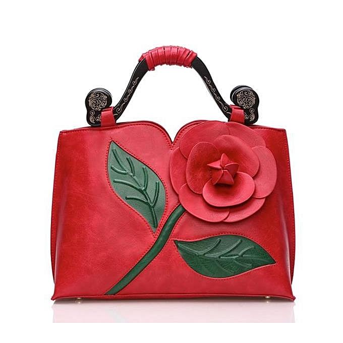 UNIVERSAL femmes National Style Flower Decoration PU Leather Handbag Crossbody Bag  rouge à prix pas cher